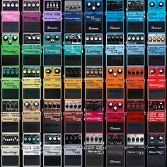 A brief overview of some of the key colour and design characteristics of Boss's classic signature compact enclosure Guitar Effects Pedals, Guitar Pedals, Boss Effects, Boss Pedals, Cool Electric Guitars, Beautiful Guitars, Cool Guitar, Guitar Amp, Pedalboard