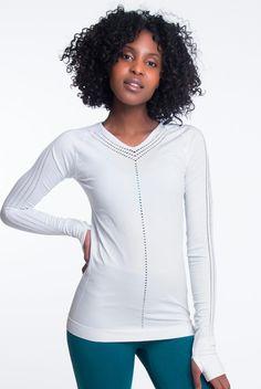 Climawear Yasmine Long Sleeve in White White Long Sleeve, Long Sleeve Tops, Tie Shorts, Crop Tank, Active Wear, V Neck, Neck Design, Model, Sleeves
