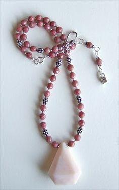 Pink Peruvian opal, rhodonite, Bali sterling  handmade-beaded-gemstone-jewelry.com