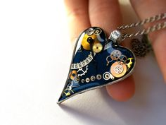 Steampunk Resin Pendant with Vintage Watch Parts, Steampunk Necklace, Steampunk Jewelry, Heart Pendant by EmilyRayAccessories