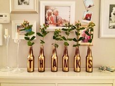 gold spray paint + letter stickers + glass bottles for centerpiece Diy Letters, Painted Letters, Bottles And Jars, Glass Bottles, Beer Bottles, Soda Bottles, Bottle Art, Bottle Crafts, Diys