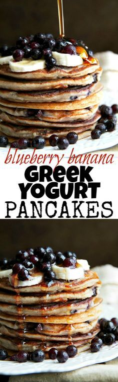 These light and fluffy Blueberry Banana Greek Yogurt Pancakes are sure to keep you satisfied all morning with over 20g of whole food protein! | http://runningwithspoons.com /explore/glutenfree/ /explore/healthy/ /search/?q=%23breakfast&rs=hashtag