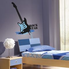 Rock star Wall Decal - Guitar Wall Stickers - #CoolWallArt Music Wall Decor, Music Wall Art, Cool Wall Art, Vinyl Wall Stickers, Wall Decals, Guitar Wall, Other Rooms, Baby Boy, Rock