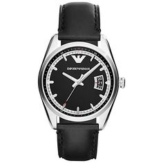 Buy Emporio Armani AR6014 Men's New Tazio Stainless Steel Round Dial, Leather Strap Watch, Black Online at johnlewis.com £149