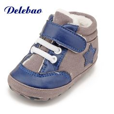 94f46913cfc50 Delebao Lace-up Add Thick And Velvet To The Velvet Cotton Baby Shoes Brown  Pentagram