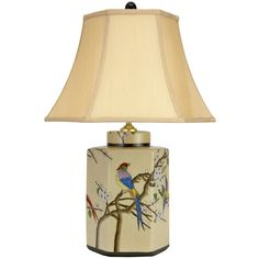 "Oriental Furniture 22"" Birds Flowers Porcelain Table Lamp - JCO-X10038"
