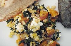 Golden Beet and Barley Salad with Rainbow Chard. Will need to grab chard, check feta levels. Rainbow Chard Recipes, Veggie Recipes, Salad Recipes, Diet Recipes, Healthy Recipes, Veggie Meals, Delicious Recipes, Barley Salad, Japanese Sweet Potato