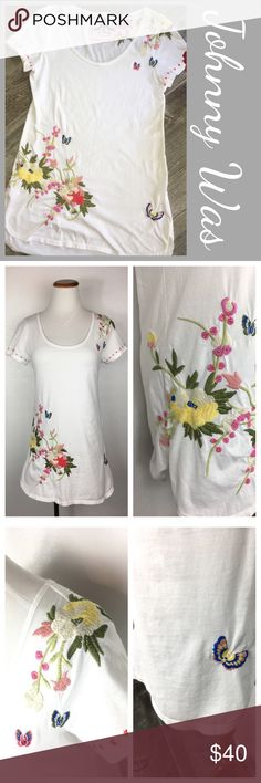 """Johnny Was Embroidered Tee. Johnny Was Embroderied Tunic SS Tee. Floral and Butterly details. Size small. Tunic style as the tee is very long. Scoop neck. Preowned A6 Measurements  Bust 17"""" Front Length from shoulder 28.5 back is slightly longer at 30""""   Bundle in my closet and save. I ship same day or next day almost always! Suggested user and top-rated seller! No trades. Thank you for checking out my closet. Johnny Was Tops Tees - Short Sleeve"""