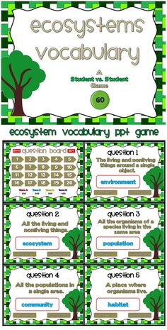 This PPT game reviews ecosystem vocabulary. Students are given the definition and they must decide what the vocabulary word is . There are 20 vocabulary words in all and you just click on each question to go to it. The question disappears after you've clicked on it so you know you've answered it. There is a type-in scoreboard.  The scoreboard can be typed in during Slideshow Mode. This is a student vs. student game so  you can have up to 4 teams .