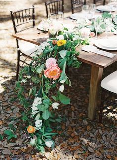 peony + greenery garland | Katie Stoops + Adam Barnes #wedding