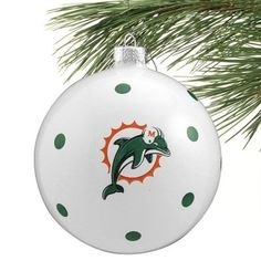 Miami Dolphins Polka Dot Ball Ornament