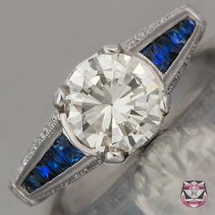 Art Deco Engagement Ring European Diamond. My dream has been to always have a sapphire wedding ring and this is it