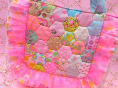Antique Fabric Pinks Patchwork Quilt Hexagon Bag アンティークファブリックピンクス