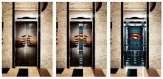 Elevator Advertisement. Superman Elevator