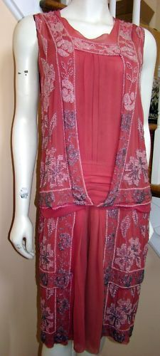1920s Rose Crepe Chiffon Beaded Flapper Dress