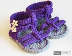 crochet baby sandals free patterns - Google Search
