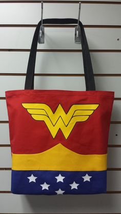 Inquistive Woman Cosplay Reusable Tote/ by PandorasProductions Tote Bags, Wonder Woman Party, Cosplay, Crochet Woman, Denim Bag, Treat Bags, Couture, Shopping Bag, Purses And Bags