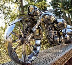 Spoon Motorcycle Handmade By US Artist James Rice Chopper Custom Metal Sculpture