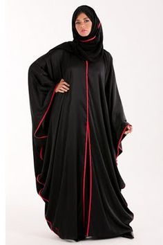 abaya style with red lining