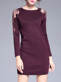 Crew Neck Casual Long Sleeve Sheath Paneled Sweater Dress