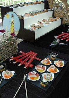 Sushi bar - great idea for a Japanese themed wedding!   Japanese Inspired Wedding Celebration - Wedding Dash Blog Post