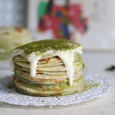 Matcha Mille Crepe. An individual serving of crepe cake with Matcha custard cream!