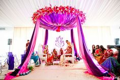 indian wedding fabric and floral mandap Wedding Ceremony Ideas, Indian Wedding Ceremony, Wedding Mandap, Wedding Lanterns, Wedding Stage, Dream Wedding, Indian Wedding Decorations, Ceremony Decorations, Wedding Themes