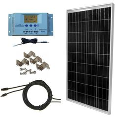 100 Watt Solar Panel Complete Off-Grid RV Boat Kit with LCD PWM Charge Controller   Solar Cable   MC4 Connectors   Mounting Brackets