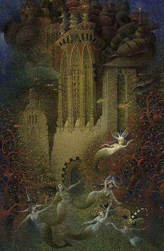 The Sea King's Daughter by Gennady Spirin.Gepinnt von Gabi Wieczorek:special mermaid scenarios