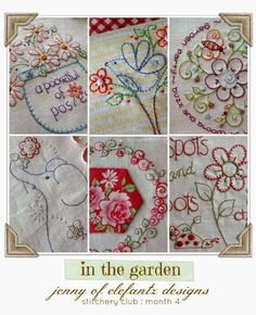 """STITCHERY CLUB - month 4 designs! """"In The Garden"""" theme. Six patterns and it's so easy to join!"""