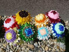 saténové kvety na stopke