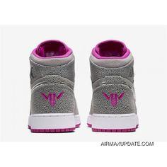d2946146a99 Grade School Air Jordan 1 GG Wolf Grey/Metallic Silver-Fuchsia Flash 332148-