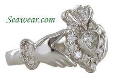 I love Claddagh Rings, - İrische Eheringe Irish Wedding Rings, Sterling Silver Wedding Rings, Wedding Rings Simple, Wedding Rings Vintage, Diamond Wedding Rings, Vintage Engagement Rings, Diamond Claddagh Ring, Claddagh Rings, Diamond Heart
