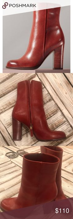 "Sam Edelman 'Reyes' Rust Red Bootie Size 8.5 Sleek side-zip bootie. Well-balanced, stacked heel with round toe. 3 3/4"" heel. Rust Red Brown Color. As seen at Anthropologie & Nordstrom — out of stock! Worn once. See bottom of shoe pic. Sam Edelman Shoes Heeled Boots"