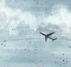 Airplane in the Sky - Limited Edition Watercolor Print $22