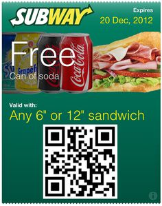 Free Drink at Subway Passbook Pass. Scan the QR code to add to Passbook