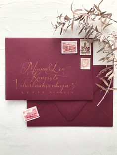 Wine red purple envelopes with modern metallic address lettering for boho classic autumn winter wedding invitations Red Purple, Burgundy, Invites, Wedding Invitations, Calligraphy Envelope, Vintage Stamps, Metallica, Envelopes, Autumn