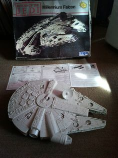 Millennium Falcon, 50cm, circa 1989. This Millennium Falcon has rotating gun turrets (top and bottom), rotating satellite dish, and a working drop-down gang plank.
