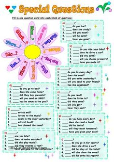 There are nine blocks of questions and the task is to choose one question word for each block. Key is included. thank you!!! - ESL worksheets