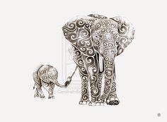 swirly elephant tattoo