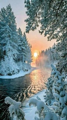 Winter river sun glow