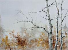 Watercolor - Aquarelle  L'hiver approche