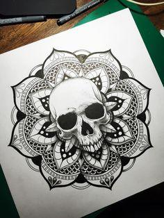 Mandala crâne skull mandala more тату Tattoo Designs, Mandala Tattoo Design, Skull Tattoo Design, Tattoo Design Drawings, Skull Tattoos, Leg Tattoos, Body Art Tattoos, Sleeve Tattoos, Future Tattoos