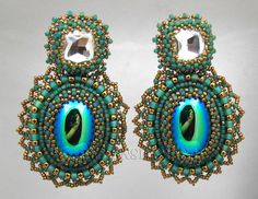 Vintage Emerald and Crystal bead embroidery earrings. $38,00, via Etsy.
