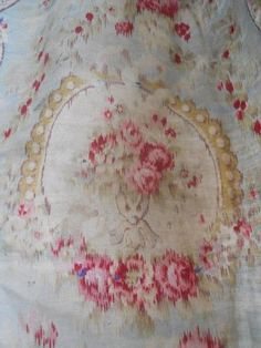 ANTIQUE FRENCH FABRIC TEXTILE COTTON FADED COLOURS 19TH-CENTURY