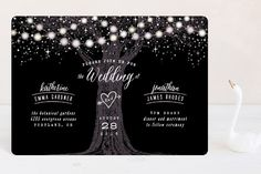 """""""Garden Lights"""" - Rustic, Whimsical & Funny Wedding Invitations in Plum by Hooray Creative."""