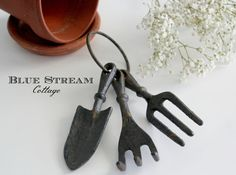 Cast Iron Garden Tool Skeleton Key Ring  by BlueStreamCottage
