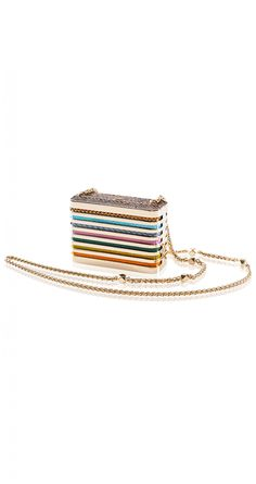 Barbara Bonner gold framed Python skin clutch in rainbow colours