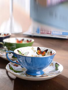 Classic Delicate Butterfly Shiny Coffee Cup With Saucer & Dining - at Jollychic Coffee Cups, Tea Cups, Delicate, Butterfly, Mugs, Dining, Tableware, Classic, Derby