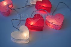 LOVE PINK HEART LANTERN STRING PATIO,FAIRY,DECOR,HOME,VALENTINE,WEDDING LIGHTS
